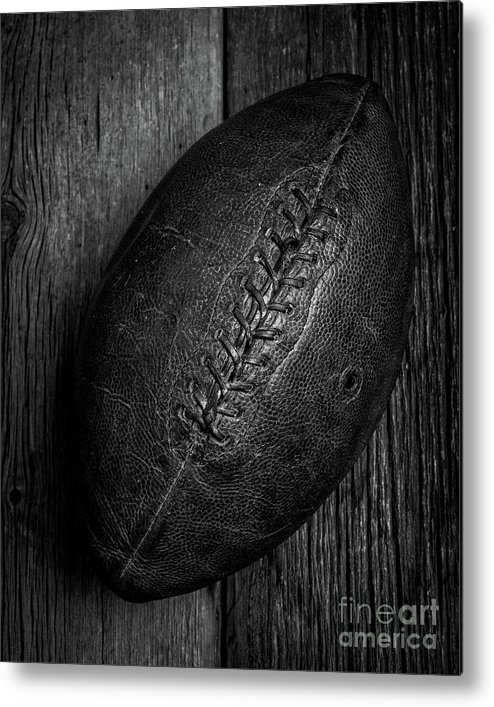 Pigskin Metal Print featuring the photograph Leather Pigskin Football by Edward Fielding