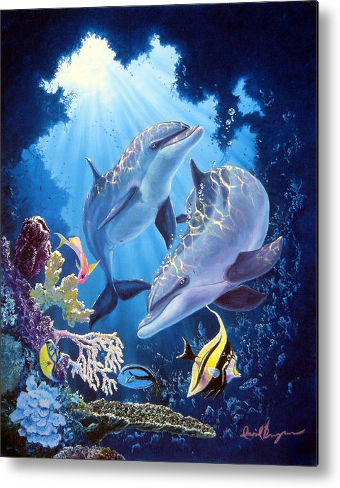 Dolphin Metal Print featuring the painting Light Of Serenity by Daniel Bergren