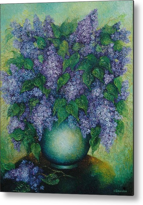 Flowers Metal Print featuring the painting Lilacs No 2. by Evgenia Davidov