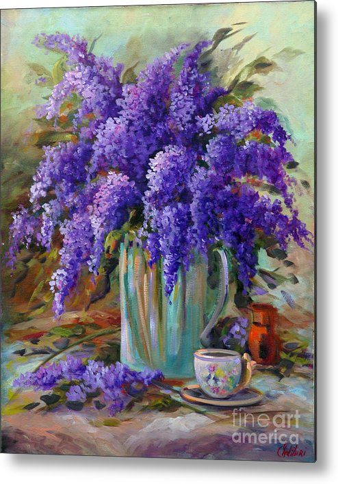 Florals Metal Print featuring the painting Lilacs Still Life by Gail Salitui