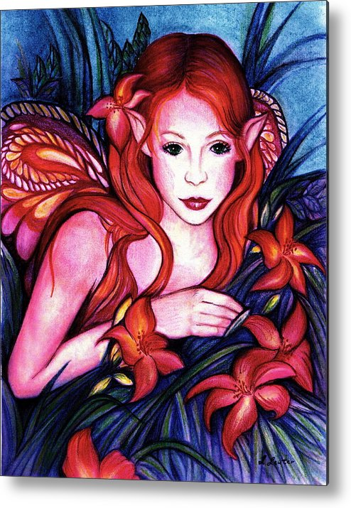 Fairy Metal Print featuring the painting Lillyfaire by L Lauter