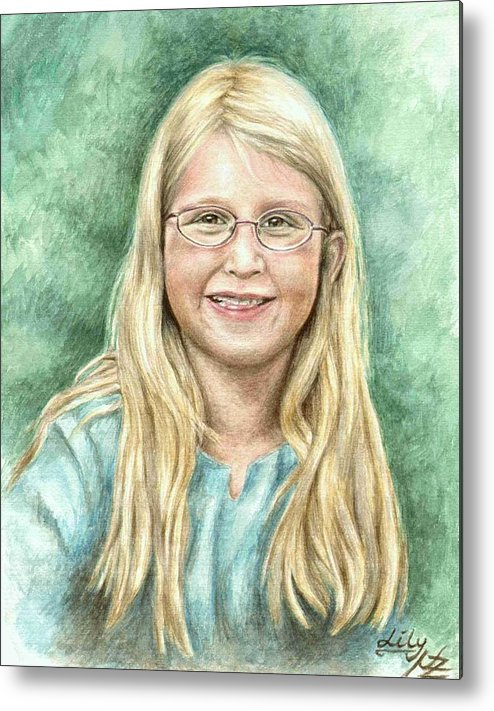 Girl Metal Print featuring the painting Lily by Nicole Zeug