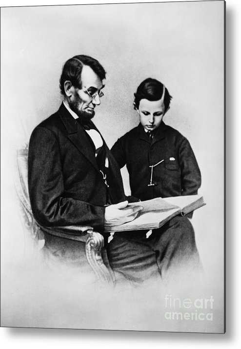 History Metal Print featuring the photograph Lincoln Reading To His Son by Photo Researchers