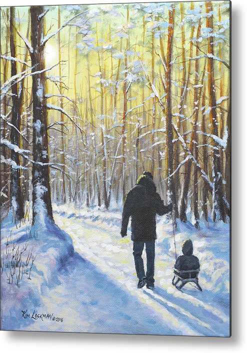 Snow Metal Print featuring the painting Little Buddy by Kim Lockman