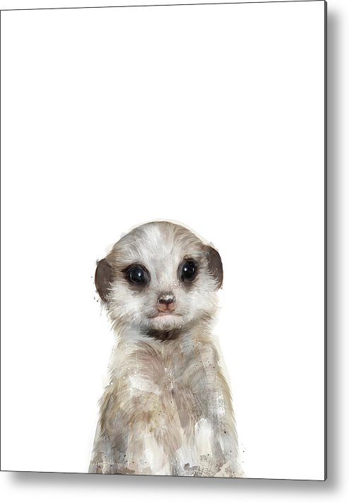 Meerkat Metal Print featuring the painting Little Meerkat by Amy Hamilton