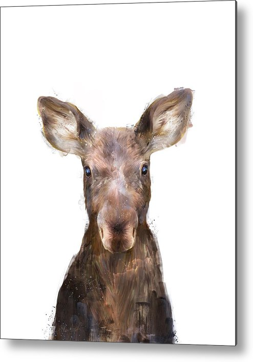 Moose Metal Print featuring the painting Little Moose by Amy Hamilton