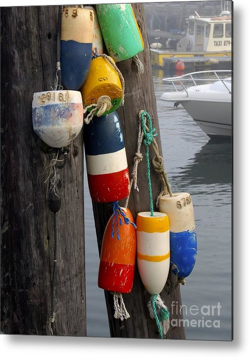 Lobster Metal Print featuring the photograph Lobster Buoy At Water Taxi Pier by Faith Harron Boudreau