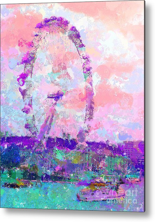 London Metal Print featuring the mixed media London Eye by Marilyn Sholin
