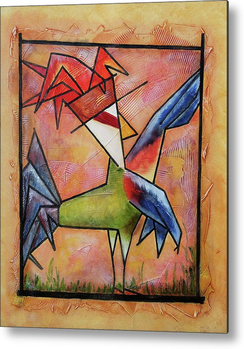 Rooster Metal Print featuring the painting Look by Bobby Jones