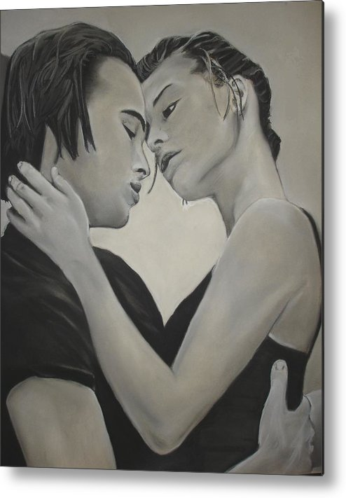 Charcoal Metal Print featuring the drawing Love And Longing by Kerra Lindsey
