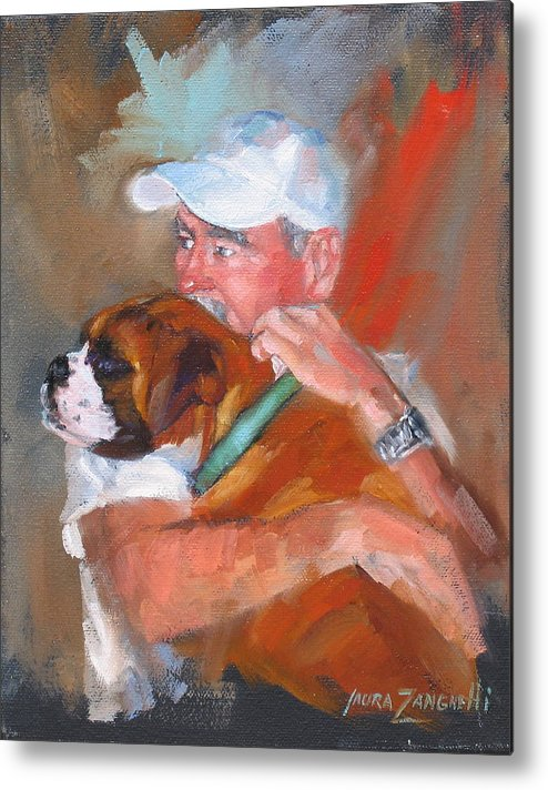 Oil Painting Metal Print featuring the painting Loving Roxie by Laura Lee Zanghetti