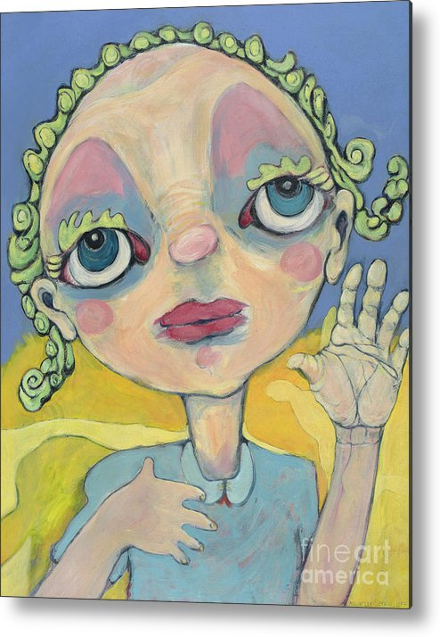 Blue Metal Print featuring the painting Lulu by Michelle Spiziri