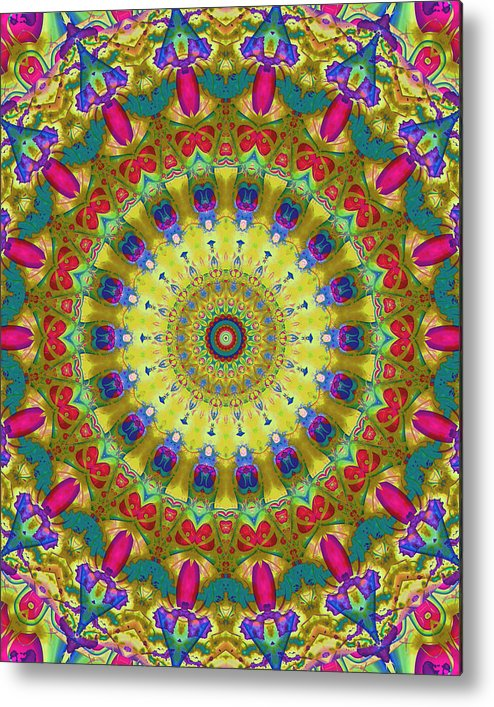 Kaleidoscope Metal Print featuring the digital art Lunch At The Eighteen Roses Sidewalk Cafe by Myxtl Turnipseed