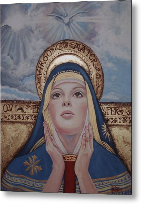 Portrait Metal Print featuring the painting Madonna by Diann Baggett
