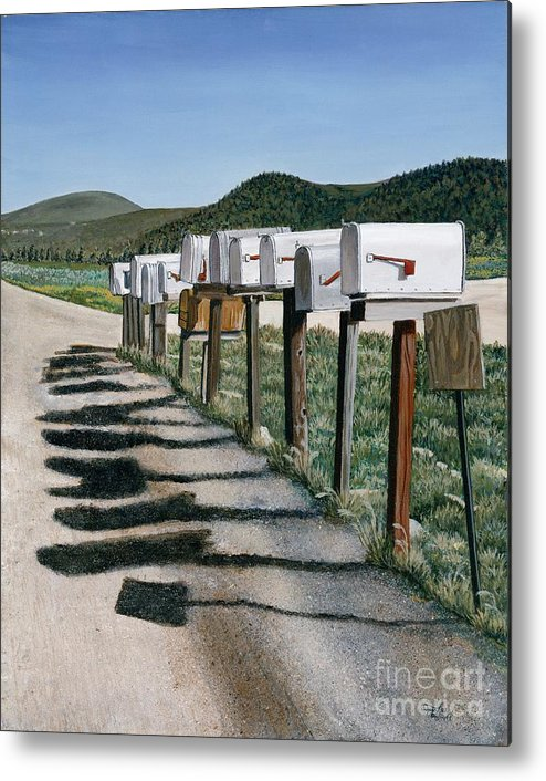 Mail Boxes Metal Print featuring the painting Mail Boxes by Jiji Lee