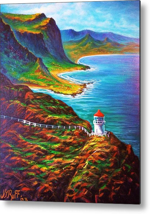 Seascape Metal Print featuring the painting Makapuu Point Lighthouse by Joseph  Ruff