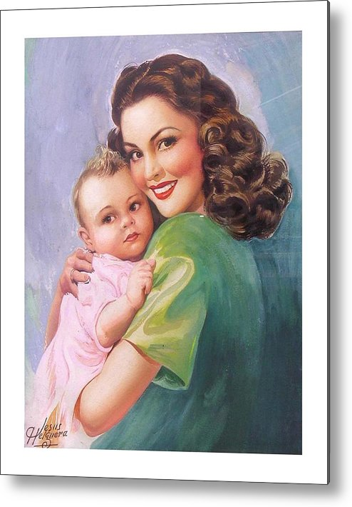 Mom Metal Print featuring the painting Mama by Jesus Helguera