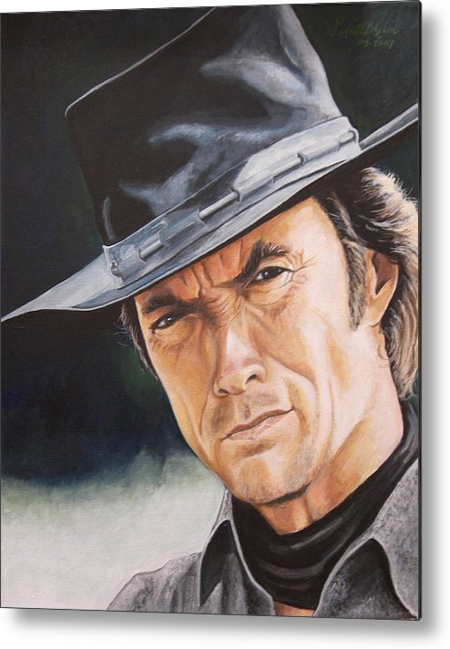 Cowboy Metal Print featuring the painting Man With No Name by Kenneth Kelsoe