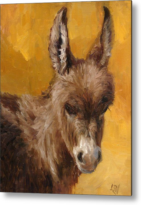 Donkey Metal Print featuring the painting Marcie by Lilli Pell