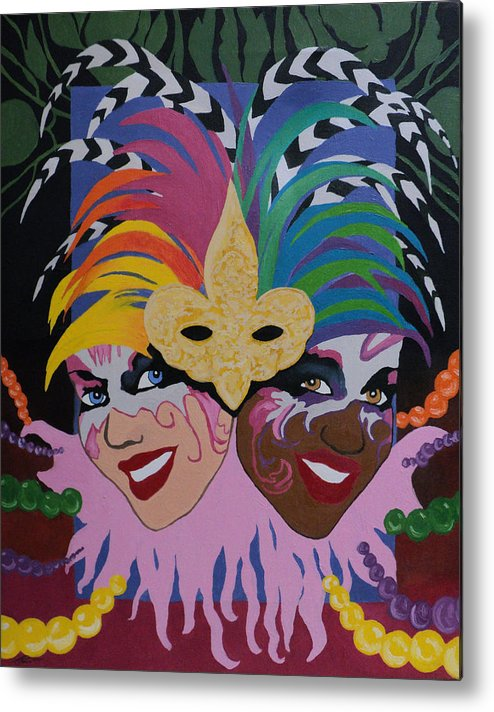 Expressionism Metal Print featuring the painting Mardi Gras In Colour by Angelo Thomas