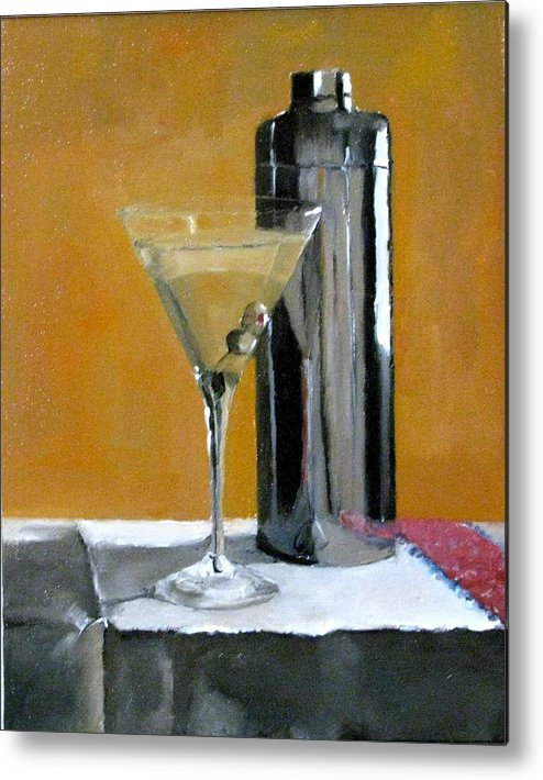 Still Life Metal Print featuring the painting Martini3 by Udi Peled