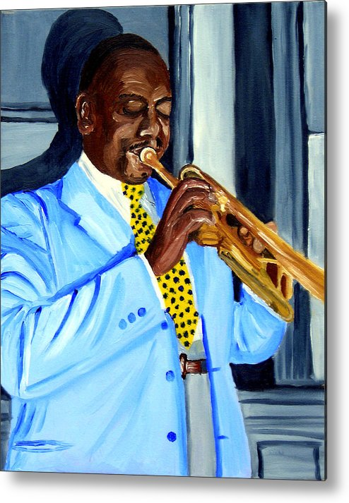 Street Musician Metal Print featuring the painting Master Of Jazz by Michael Lee