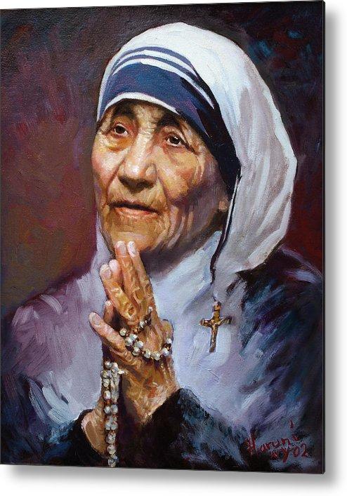 Mother Teresa Artwork Metal Print featuring the painting Mather Teresa by Ylli Haruni