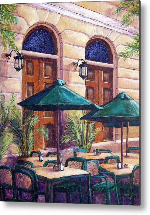 Cityscape Metal Print featuring the painting Merida Cafe by Candy Mayer
