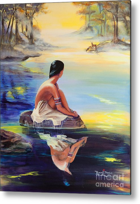 Indian Women Metal Print featuring the painting Mist Reflections by Diane Rose Medlin