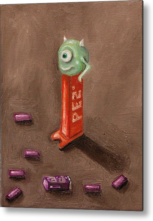Pez Metal Print featuring the painting Monster Pez by Leah Saulnier The Painting Maniac
