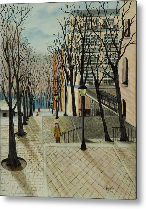 Paris Metal Print featuring the painting Montmartre Steps In Paris by Susan Kubes