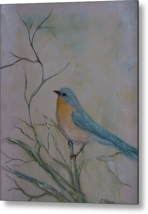 Finch Metal Print featuring the mixed media Morning Finch by Christine Howe