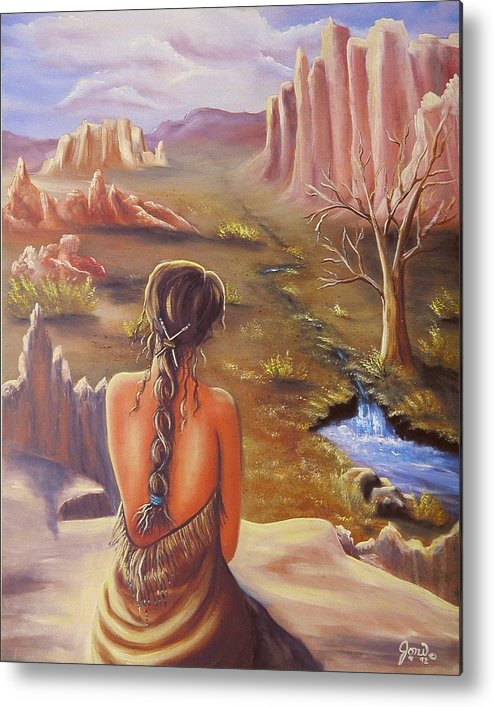 Native American Metal Print featuring the painting Morning Glory by Joni McPherson