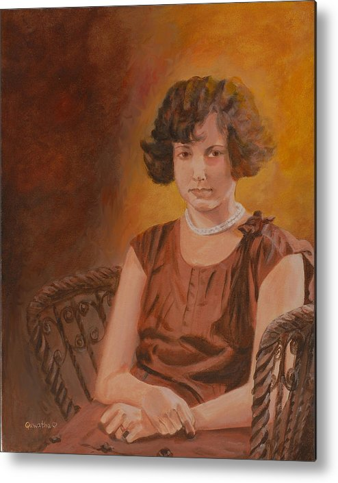 Woman Metal Print featuring the painting Mother by Quwatha Valentine