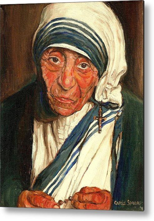 Mother Teresa Metal Print featuring the painting Mother Teresa by Carole Spandau