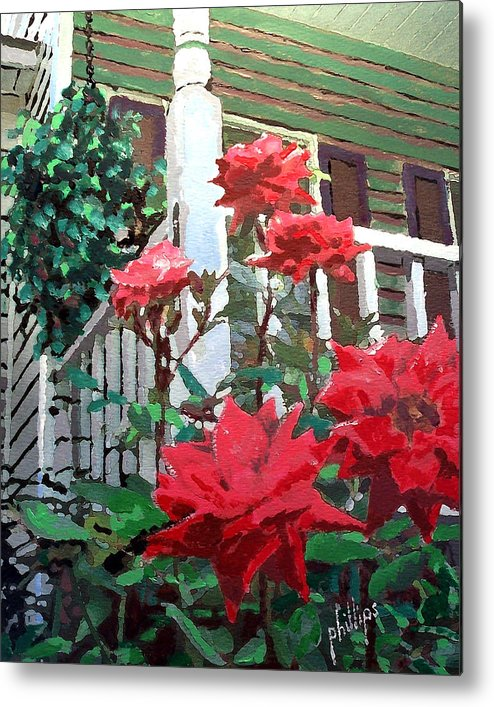 Rose Metal Print featuring the painting My Favorite Corner by Jim Phillips
