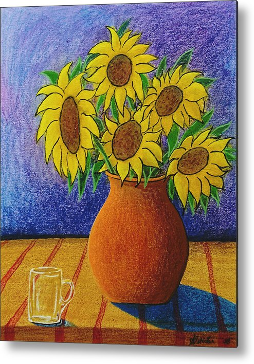 Wax Metal Print featuring the painting My Sunflowers by Arnold Isbister
