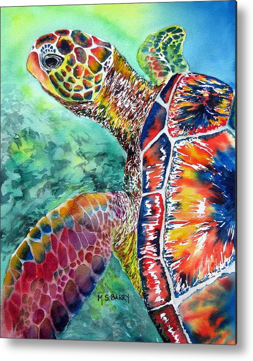 Turtle Metal Print featuring the painting Myrtle The Turtle by Maria Barry