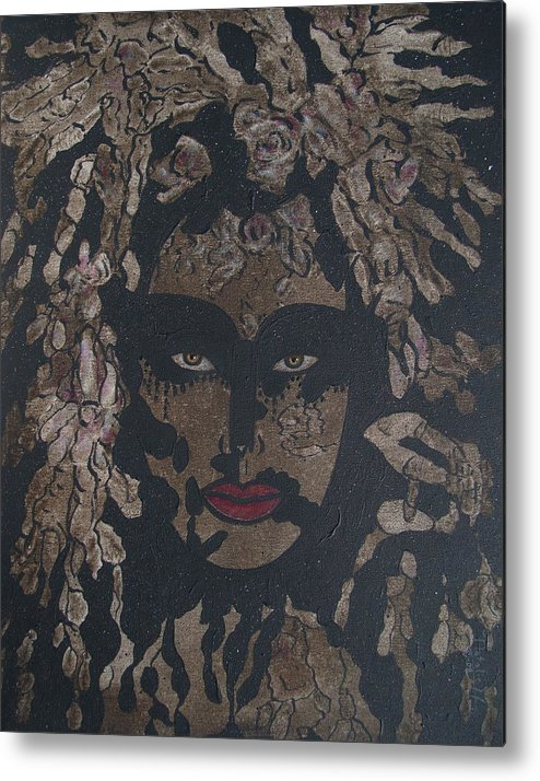 Figurative Metal Print featuring the painting Mysterious Desire by Natalie Holland