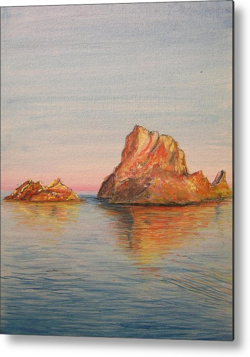 Island Metal Print featuring the painting Mystical Island Es Vedra by Lizzy Forrester