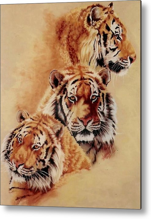 Tiger Metal Print featuring the pastel Nanook by Barbara Keith