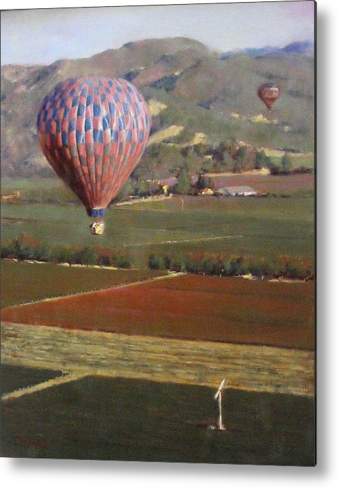 Wine Contry Metal Print featuring the painting Napa Balloon Morning Ride by Takayuki Harada