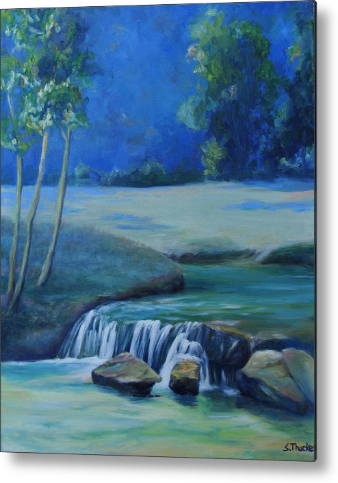 Guadalupe River Metal Print featuring the painting New Braunfels River Scene by Susan Thacker