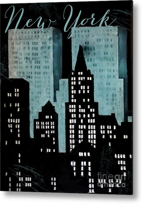 New York Metal Print featuring the painting New York Art Deco by Mindy Sommers