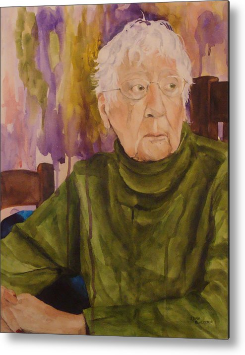 Portrait Metal Print featuring the painting Ninety Years Young by Jean Blackmer