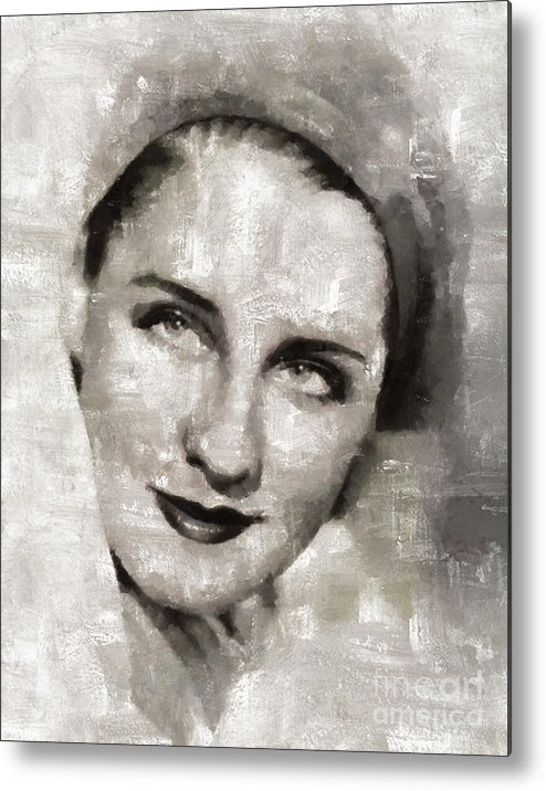 Metal Print featuring the painting Norma Shearer, Actress by Mary Bassett