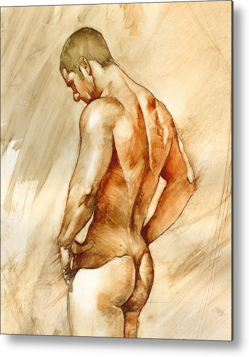 Man Metal Print featuring the painting Nude 41 by Chris Lopez