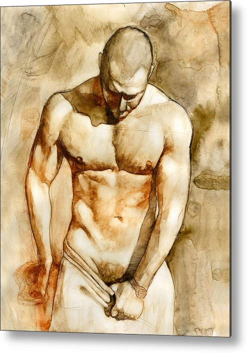 Male Nude Metal Print featuring the painting Nude 43 by Chris Lopez