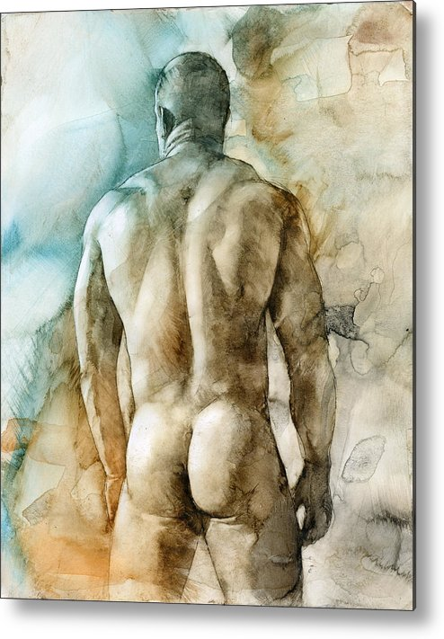 Male Metal Print featuring the painting Nude 51 by Chris Lopez