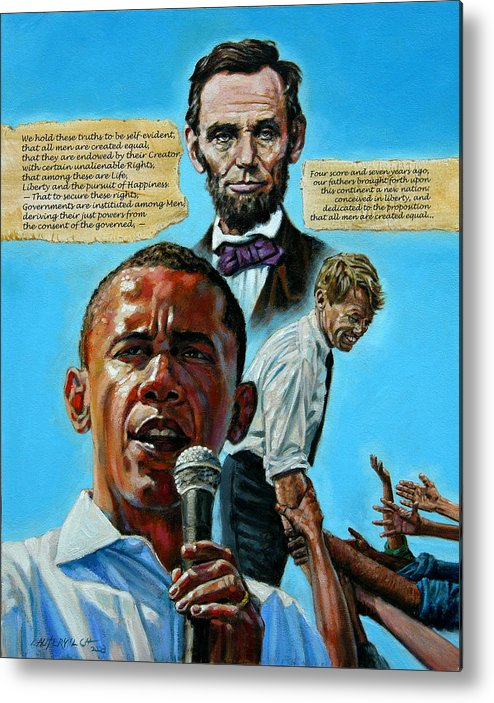 Obama Metal Print featuring the painting Obamas Heritage by John Lautermilch